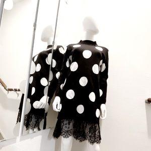 Black & White Polka Dot Lace Sweater Dress